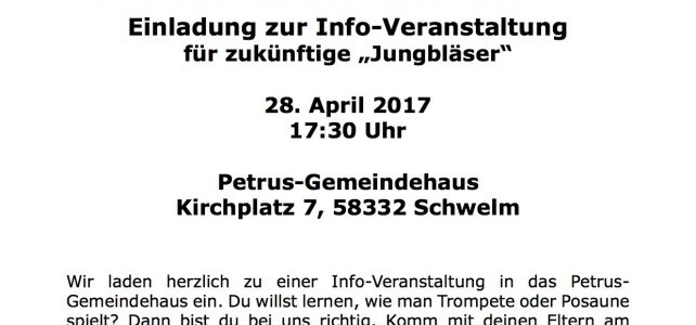 """""""Blech blasen statt Blech reden"""" – Infoveranstaltung für künftige Jungbläser"""
